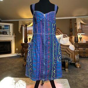 Marc Jacobs Denim Painted Zip Dress Size 12